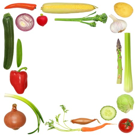 Vegetable selection forming a frame, over white background.  photo