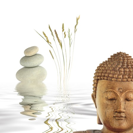 inner peace: Zen abstract of the face of a buddha with grey spa stone in perfect balance and wild grasses with reflection in rippled water to the rear. Over white background. Stock Photo