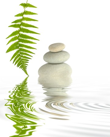 Zen abstract of spa stones in perfect balance with a fern leaf and reflection in grey rippled water. Over white background.