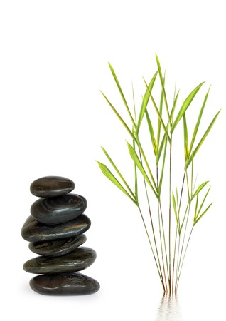 Zen abstract design of spa massage treatment stones in perfect balance with bamboo leaf grass, over white background. Stock Photo - 4485909