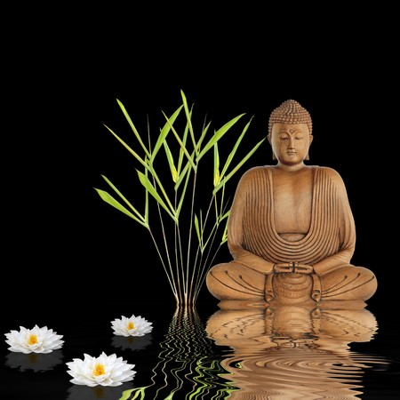 Buddha sitting in an abstract zen garden with bamboo leaf grass and white japanese lotus lily with reflection in rippled water, over black background.