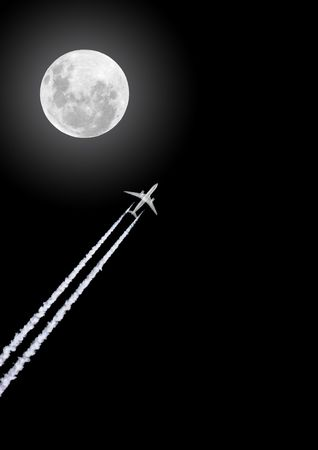 Jet aircraft flying at night with smoke trails, set against a black sky with full moon. photo