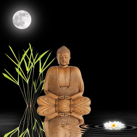 calmness: Zen abstract of a buddha in contemplation with bamboo leaf grass and  white japanese lotus lily with reflection in rippled water. Over black background with a full glowing moon.
