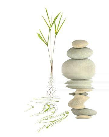 gramineas: Jard�n zen resumen de la hoja de hierba y bamb� spa guijarros grises en perfecto equilibrio con la reflexi�n sobre agit� el agua, contra el fondo blanco.