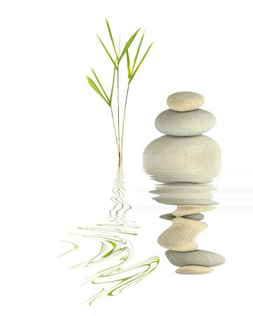 grasses: Zen garden abstract of bamboo leaf grass and grey spa pebbles in perfect balance with reflection over rippled  water, against white background.