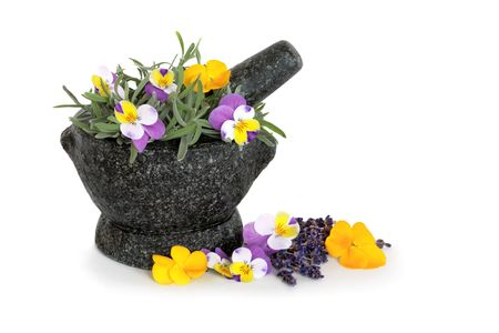 Lavender herb leaf sprigs  and viola flowers in a hand carved granite mortar with pestle, over white background. Beneficial for skincare. Stock Photo - 4694503