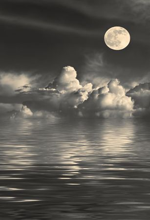 phases: Stormy night sky with cumulus clouds and a golden full moon on the spring equinox, with reflection over water.