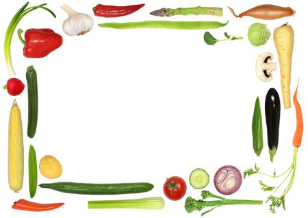 Vegetable selection forming an abstract border over white background. photo