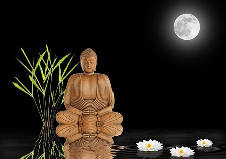 old moon: Buddha with bamboo leaf grass and white lotus lilies with reflection over rippled water. Against black background with a glowing full moon on the spring equinox.