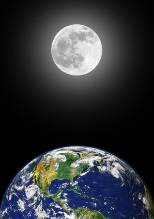 equinox: Planet earth featuring the north american continent, with a glowing full moon on the spring equinox in the distance, over black sky background.