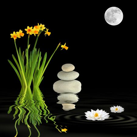 Zen garden abstract at night under with a full moon on the spring equinox and reflection over rippled black water.