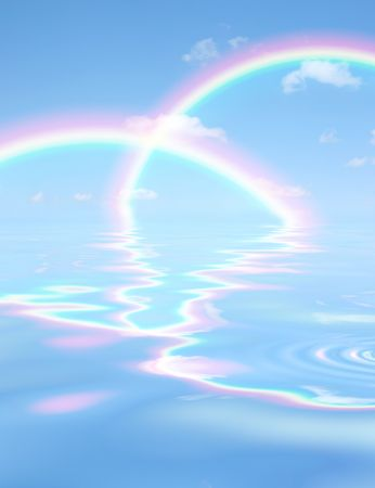 Fantasy abstract of a blue sky, double rainbow and clouds with reflection in rippled water.  photo