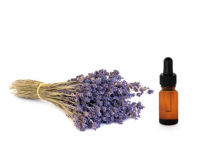 Lavender dried herb flowers and essential oil glass dropper bottle, over white background. Stock Photo - 5022792