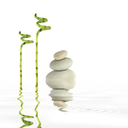 tough luck: Zen abstract of grey spa stones in perfect balance with lucky bamboo grass and reflection in rippled water, over white background.