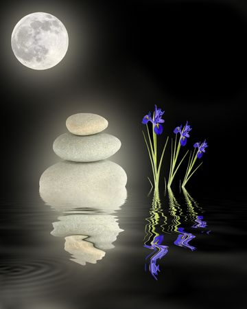 healing with chi:  Zen abstract of glowing grey spa stones in perfect balance blue iris flowers and full moon with reflection in rippled water, over black background.