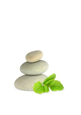 balanced:  Spa stones in perfect balance and lemon balm herb leaf sprig, over white background.