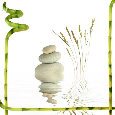 Zen garden abstract of  spa stones, natural wild grasses and reflection in rippled grey water with a frame of lucky bamboo leaf, over white background. photo