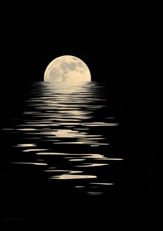 equinox:  Golden full moon on the Spring Equinox, with reflection in rippled water, over black background. Stock Photo