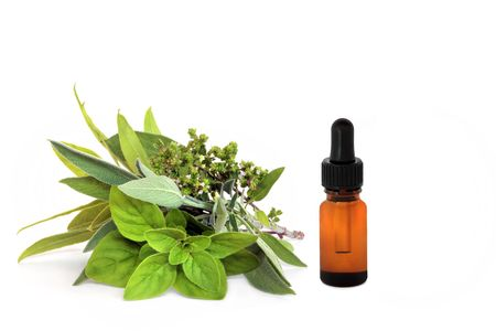 Herb leaf and flower selection of bay, oregano, sage and thyme with an essential oil dropper bottle, over white background. Stock Photo - 5301227