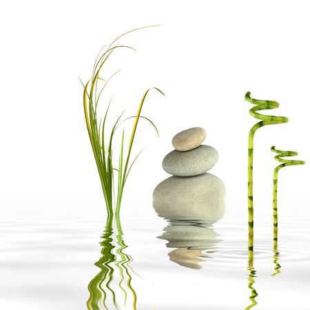 feng shui: Zen garden abstract of grey spa stones in perfect balance with bamboo leaf grass and reflection in rippled water, over white background.