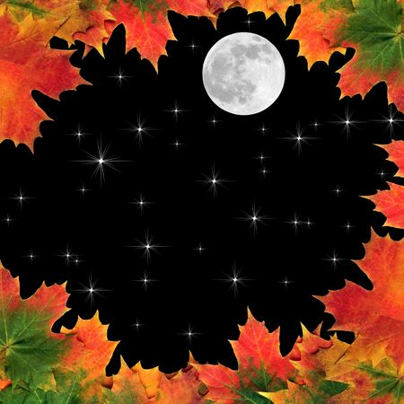 full frame: Fantasy abstract of maple leaves  forming a border with full moon and stars in a black sky beyond. Stock Photo
