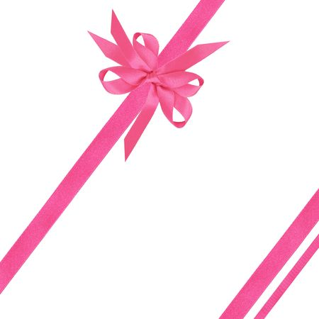 Pink satin ribbon and bows over white background.