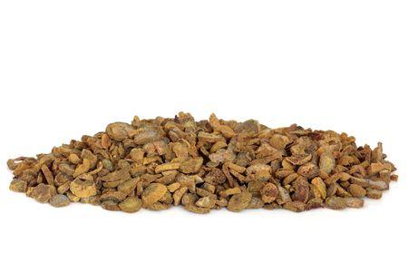 corydalis: Corydalis tuber used in chinese herbal medicine, isolated over white background. Yan hu suo, Rhizoma corydalis. Stock Photo