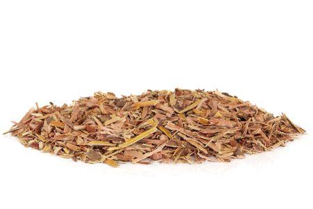 salix alba: White willow bark herb used in chinese herbal medicine isolated over white background. Modern day equivalent is aspirin. Bailiupi tiquwu. Salix alba.