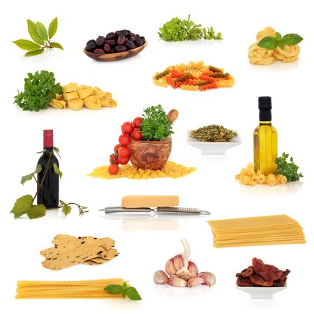 Large Italian traditional food and drink collection isolated over white background. photo