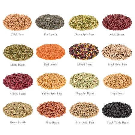 Dried pulses collection with titles, isolated over white background. photo