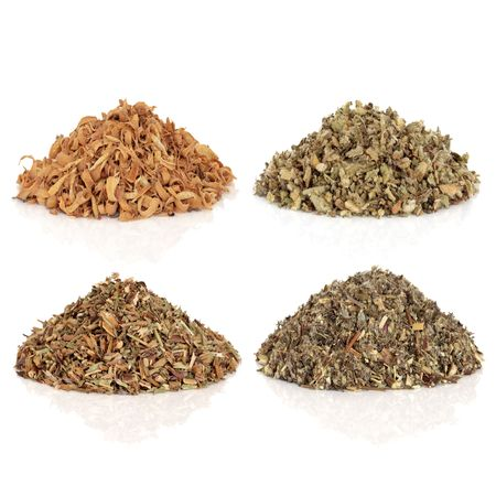 dried herb: Medicinal and magical herbs used to make potions and cast spells, orange blossom, mullein, hyssop and mugwort, isolated over white background. Top left to bottom right.