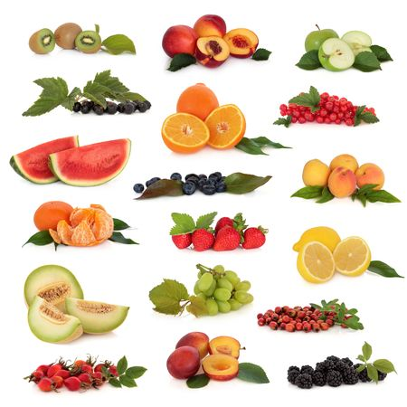 Large fruit collection high in antioxidants and vitamins,  isolated over white background. photo