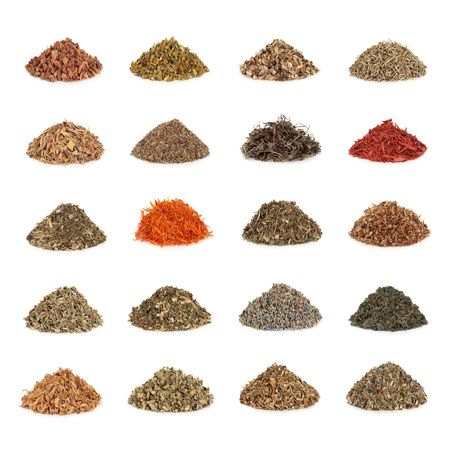 Medicinal and magical herb collection used in natural healing and to make potions and cast spells, isolated over white background. Stock Photo - 6605870