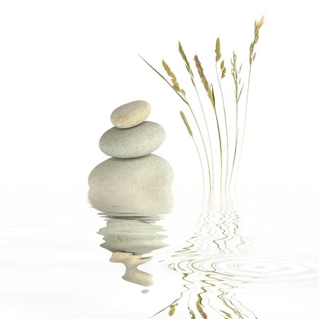yin yang: Zen garden abstract of grey spa stones in perfect balance with natural wild grasses and reflection in rippled water, over white background.