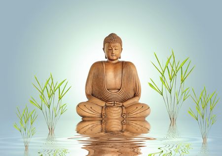 Buddha in meditation with bamboo leaf grass and reflection over rippled water, set against a pastel green background with white central glow.
