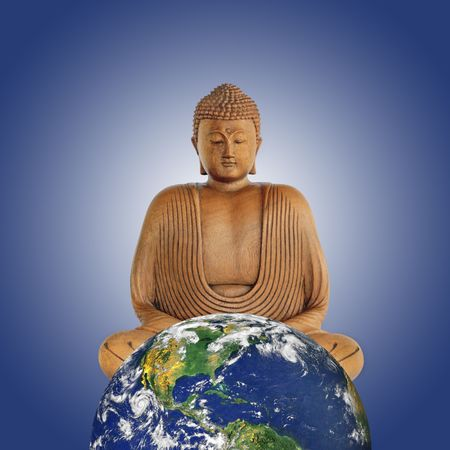 Buddha with a globe of planet earth featuring the north american continent, against a blue background with white glow. photo