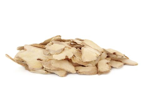 laxative: Dried ginger used in traditional chinese herbal medicine, isolated over white background. Gan jiang, Rhizoma zingiberis officianalis.