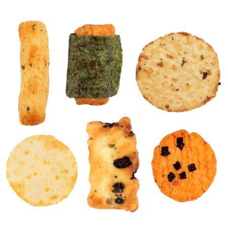 crackers: Japanese rice cracker selection isolated over white background.