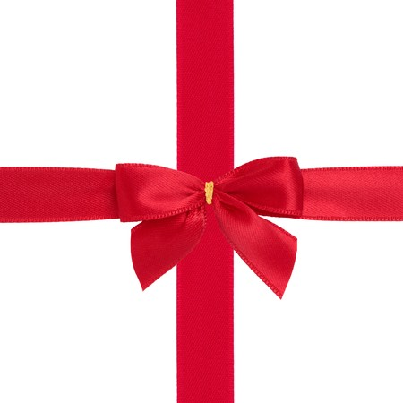Red ribbon and bow gift box wrapping  isolated over whte background. photo