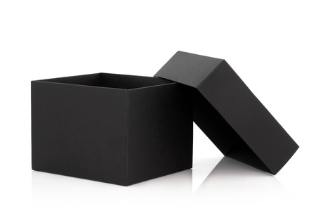 Black cardboard box with the lid off over white background with reflection. Stock Photo - 7156856