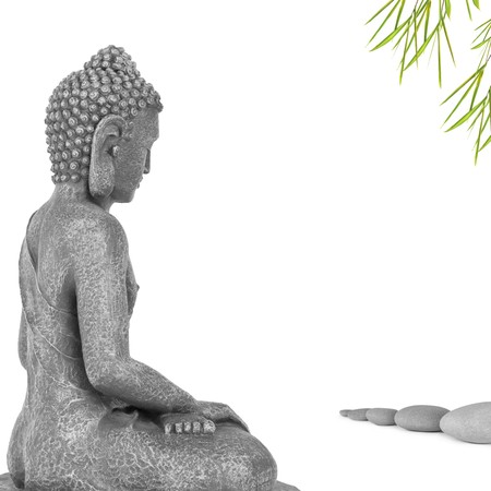 Buddha face with eyes closed in prayer, sitting in the direction a line of grey stones and bamboo leaf grass,  isolated over white background.  photo