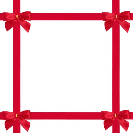 Red satin ribbon and bow gift box wrapping  isolated over white background. photo