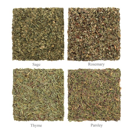 Parsley, sage rosemary and thyme dried herbs isolated over white background. Stock Photo - 7345361