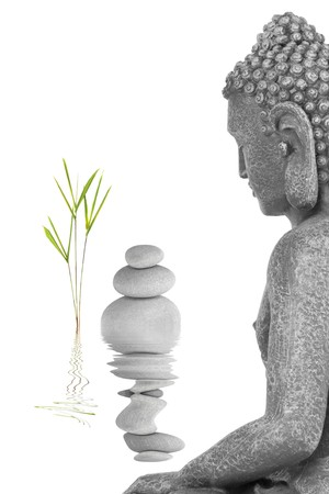 Buddha in meditation abstract, with bamboo leaf grass and a line of grey stones, isolated over white background.