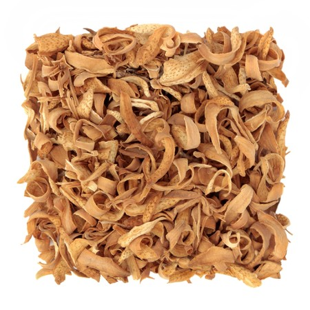 Dried orange blossom flower petals. Used in traditional chinese herbal medicine. Isolated over white background. photo