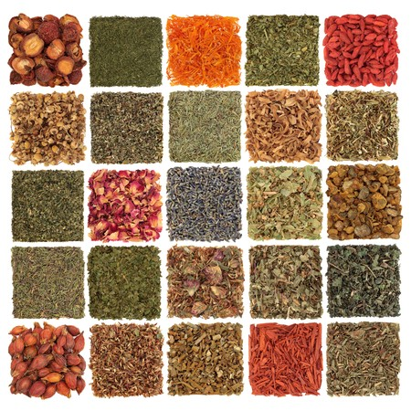 dried spice: Dried herb, spice, flower and fruit selection used in cooking and medicinal healing, in patchwork design, isolated over white background. Stock Photo