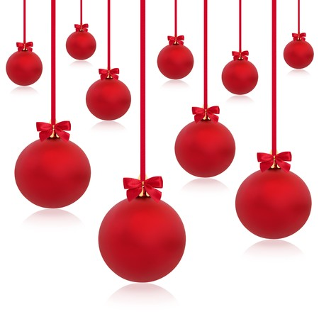 Christmas baubles in red with ribbons and bows in abstract design, isolated over white background. Stock Photo - 7774738