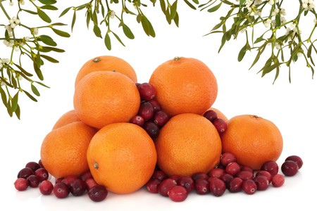 cranberry fruit: Christmas mistletoe forming an abstract border over scattered tangerine and cranberry fruit isolated over white background.