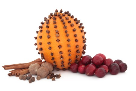 Cranberry and orange fruit pomander studded with cloves, with allspice, cinnamon sticks, cloves and nutmeg spice, isolated over white background. photo