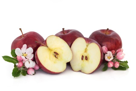 Red apple fruit whole and in half with flower blossom leaf sprigs, isolated over white background. Stock Photo - 7978722